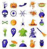 Insieme delle icone di Halloween Fotografia Stock