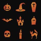 Insieme delle icone di Halloween di progettazione del poligono di vettore Illustrazione Vettoriale