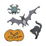 Insieme delle icone di Halloween mini Fotografie Stock