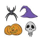 Insieme delle icone di Halloween mini Immagine Stock
