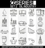 Insieme delle icone di industria petrolifera Immagini Stock Libere da Diritti