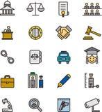 Insieme delle icone di legge e della giustizia Fotografie Stock Libere da Diritti