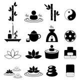 Insieme delle icone di massaggio e della stazione termale Fotografia Stock