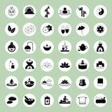 Insieme delle icone di massaggio e della stazione termale Immagini Stock