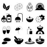 Insieme delle icone di massaggio e della stazione termale Immagini Stock Libere da Diritti
