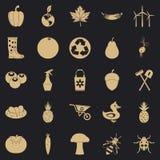 Insieme delle icone di messa a terra di piacere, stile semplice illustrazione di stock