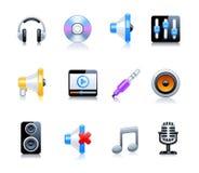 Insieme delle icone di musica Immagini Stock Libere da Diritti