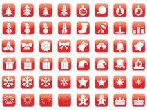 Insieme delle icone di Natale Fotografia Stock Libera da Diritti