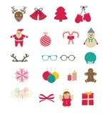 Insieme delle icone di Natale Fotografia Stock