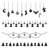 Insieme delle icone di natale, decorazioni dell'Natale-albero, modelli per le cartoline d'auguri, illustrazione piana di vettore illustrazione di stock