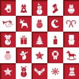Insieme delle icone di natale, decorazioni dell'Natale-albero, modelli per le cartoline d'auguri, illustrazione piana di vettore royalty illustrazione gratis