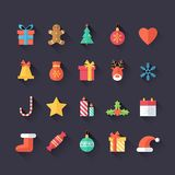 Insieme delle icone di Natale isolate Stile piano con le ombre lunghe Progettazione d'avanguardia moderna Fotografia Stock Libera da Diritti