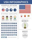 Insieme delle icone di progettazione e degli elementi piani di infographics con il punto di riferimento Immagini Stock