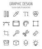 Insieme delle icone di progettazione grafica nella linea stile sottile moderna Fotografie Stock