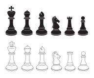 Insieme delle icone di scacchi in bianco e nero Fotografia Stock Libera da Diritti