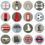 Insieme delle icone di simbolo dell'Inghilterra Fotografia Stock Libera da Diritti