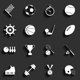 Insieme delle icone di sport di vettore nella progettazione piana Fotografia Stock