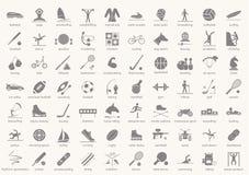 Insieme delle icone di sport nella progettazione piana con le ombre Illustrazione di vettore Fotografia Stock