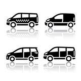 Insieme delle icone di trasporto - furgone del carico, Fotografia Stock Libera da Diritti