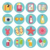 Insieme delle icone di vacanze estive Fotografia Stock Libera da Diritti