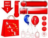 Insieme delle icone di vendita. Fotografia Stock