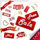 Insieme delle icone di vendita, contrassegni, autoadesivi. Immagini Stock
