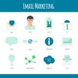 Insieme delle icone di vendita del email nella progettazione piana royalty illustrazione gratis