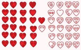 Insieme delle icone di vettore che descrivono i contorni ed ombreggiatura del cuore Fotografie Stock Libere da Diritti