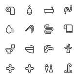 Insieme delle icone di vettore con la doccia, toilette, fondo della luce di komnatana del bagno Immagine Stock