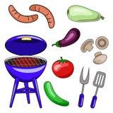 Insieme delle icone di vettore del barbecue Illustrazioni della griglia, sau royalty illustrazione gratis