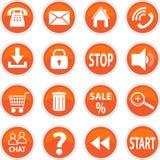 Insieme delle icone di vettore dell'arancia Fotografia Stock Libera da Diritti