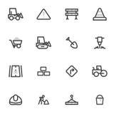 Insieme delle icone di vettore dell'attrezzatura, della costruzione e della riparazione della strada delle strade su un fondo leg royalty illustrazione gratis