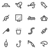 Insieme delle icone di vettore di pesca, accampandosi, cercare, facente un'escursione illustrazione di stock