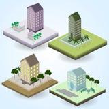 Insieme delle icone di vettore isometriche sul tema della città Fotografia Stock
