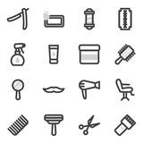 Insieme delle icone di vettore sul tema degli accessori per i tagli di capelli, disegnanti per il salone di bellezza Fotografia Stock Libera da Diritti