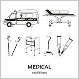 Insieme delle icone di vettore sulla medicina di tema Lesioni, fratture, ambulanza illustrazione di stock