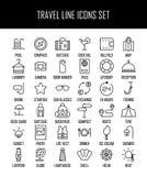 Insieme delle icone di viaggio nella linea stile sottile moderna Fotografia Stock Libera da Diritti