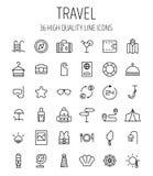 Insieme delle icone di viaggio nella linea stile sottile moderna Fotografia Stock