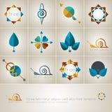 Insieme delle icone di web con gli elementi naturali, logos di vettore Fotografie Stock