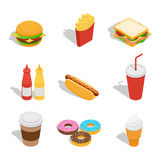 Insieme delle icone di web per il fast food illustrazione vettoriale