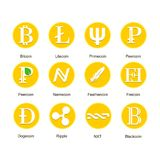 Insieme delle icone differenti del cryptocurrency Fotografie Stock