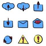 Insieme delle icone dipinte a mano Può essere utilizzato nel web o nel softw del cellulare royalty illustrazione gratis