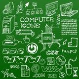 Insieme delle icone disegnate a mano bianche del calcolatore Immagine Stock Libera da Diritti