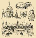 Insieme delle icone disegnate a mano della Russia illustrazione vettoriale