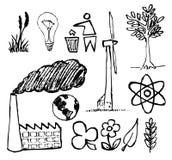 Insieme delle icone disegnate a mano di ecologia Immagine Stock