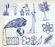Insieme delle icone disegnate a mano di ecologia Immagine Stock Libera da Diritti