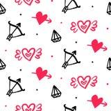 Insieme delle icone disegnate a mano di scarabocchi di giorno del ` s del biglietto di S. Valentino Fotografia Stock