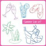 Insieme delle icone disegnate a mano di vacanze estive Immagini Stock Libere da Diritti