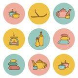 Insieme delle icone disegnate a mano sul tema della stazione termale Fotografia Stock Libera da Diritti