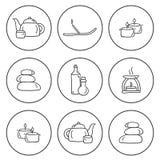 Insieme delle icone disegnate a mano sul tema della stazione termale Fotografie Stock Libere da Diritti